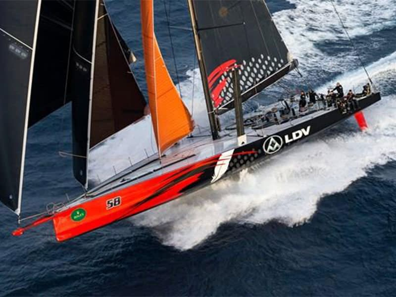 Comanche sailing hard with KZ Racefurlers